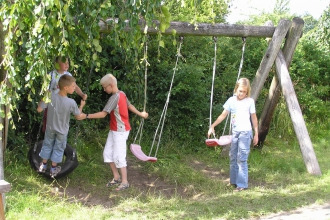 Children at one of the playgrounds
