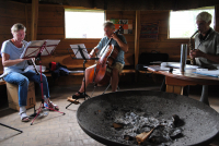 Campers are practising on various instruments in the pavillon
