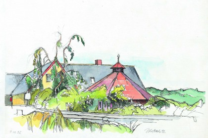 Watercolor of a part of the main building, trees, buches and the youth pavillon.