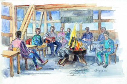 Watercolor of the atmosphere in the common room with the open fireplace