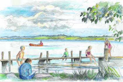Watercolor of children playing at the beach, swimming and paddeling with a canoe in the lake